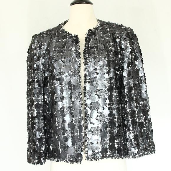 c3a60002 Zara Jackets & Coats | Sequin Tweed Blazer Large Fashion Jacket New ...